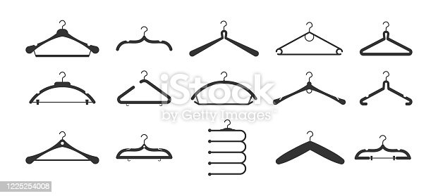 Set of different hangers clothes fashion. Clothes hangers silhouettes set. Set of black icons. Vector illustration, eps 10.