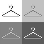 Hangers. Vector set  icon hangers  on white-grey-black color.