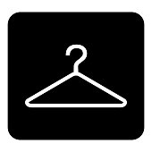 Hangers.Vector icon. Vector white illustration on black background