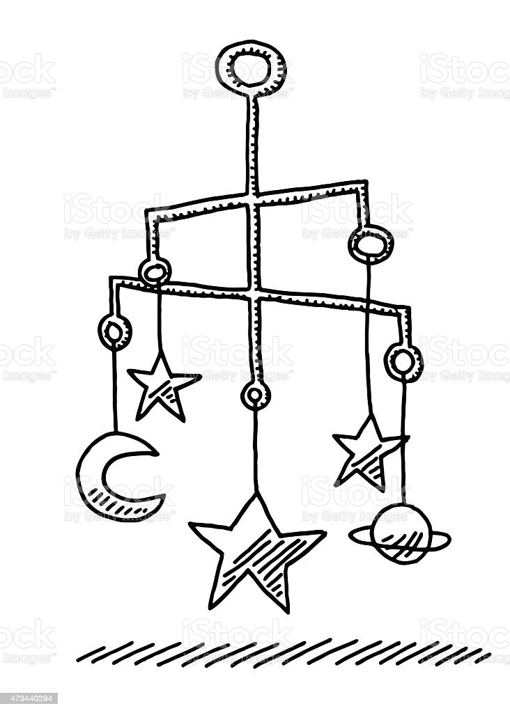 Hanging Baby Mobile Sculpture Stars And Moon Drawing vector art illustration