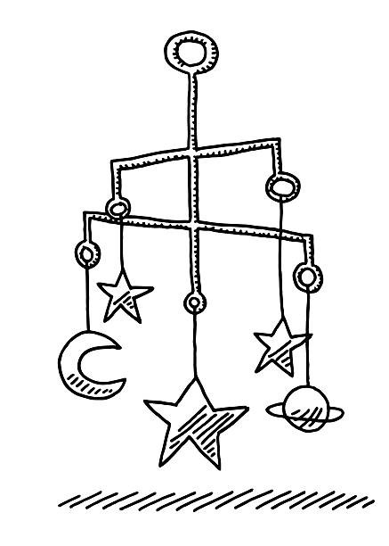 ilustrações, clipart, desenhos animados e ícones de escultura de bebê celular nas estrelas e a lua de desenho - mobile