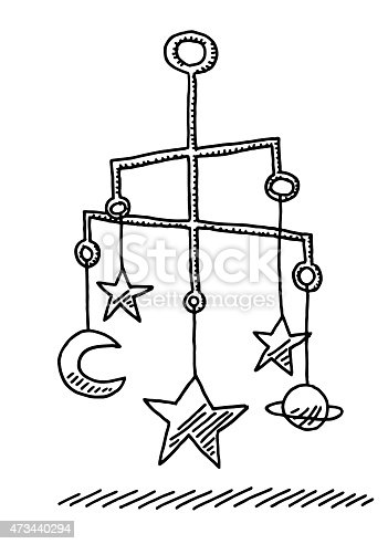 Hanging Baby Mobile Sculpture Stars And Moon Drawing Stock