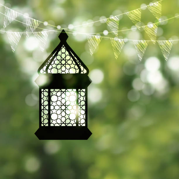 Hanging black silhouette of arabic lamp, lantern with string of bokeh lights and bunting flags. Festive blurred vector illustration background for muslim holiday Ramadan Kareem. Garden party. vector art illustration