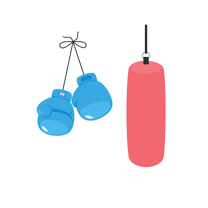 Hanging boxing gloves and punching bag