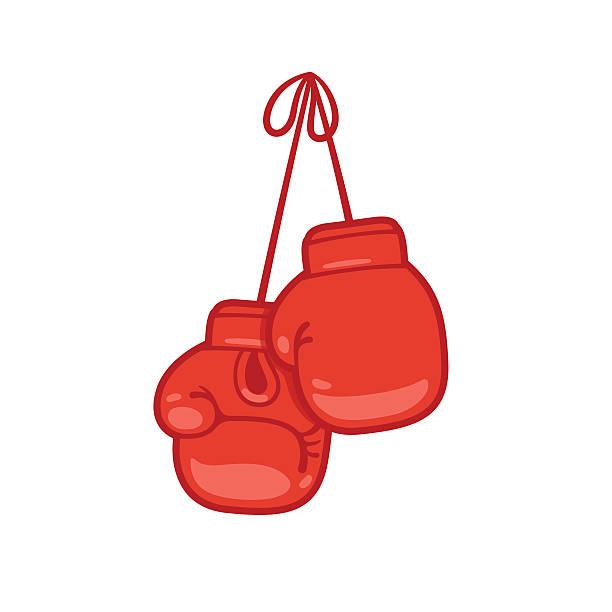 Hanging boxing gloves vector art illustration