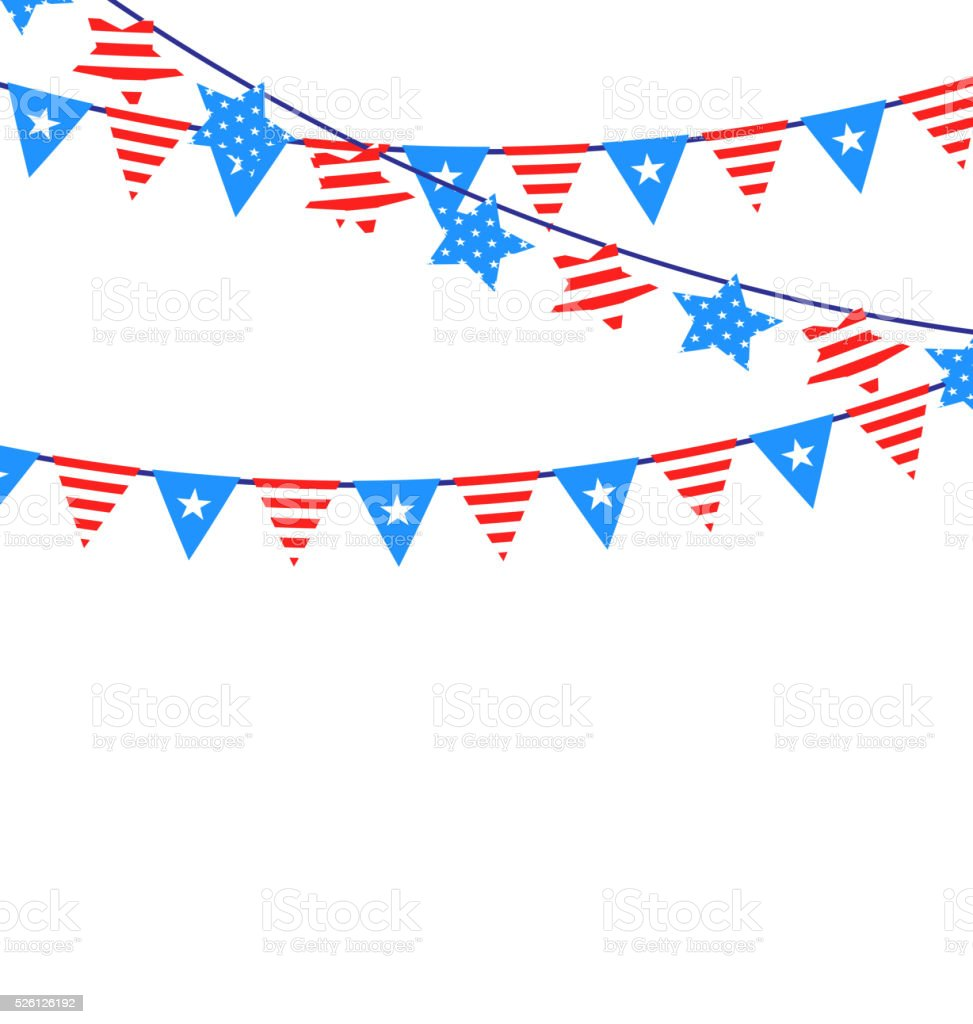 Hanging Bunting Garlands American vector art illustration
