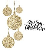 Hanging Christmas ball with a floral swirl. Hand drawn calligraphy Merry Christmas lettering. design holiday greeting cards and invitations of Merry Christmas and Happy New Year and seasonal holidays