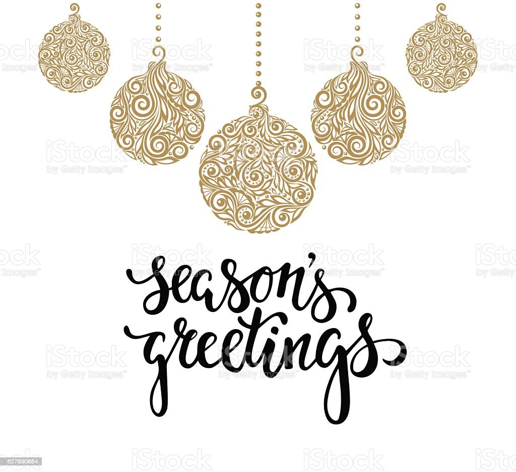 Hanging christmas ball with a floral swirl season greetings hanging christmas ball with a floral swirl season greetings lettering royalty free hanging kristyandbryce Image collections