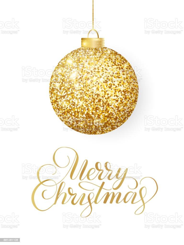 Weihnachten Bilder Mit Text.Hängende Weihnachten Goldene Kugel Auf Weiß Isoliert Glitzernde