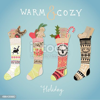 Hanging christmas socks with present. Warm and cozy holiday.