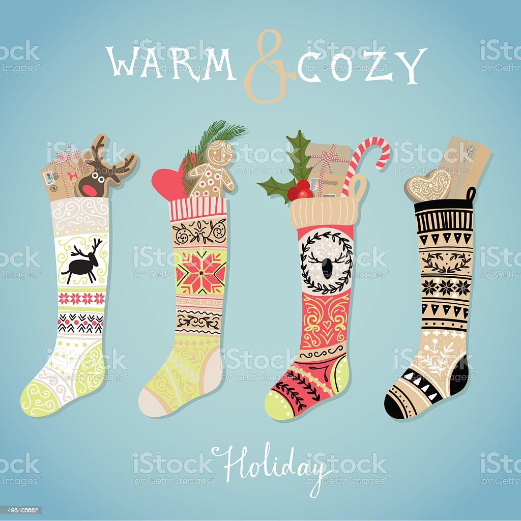 Hanging christmas socks with present vector art illustration