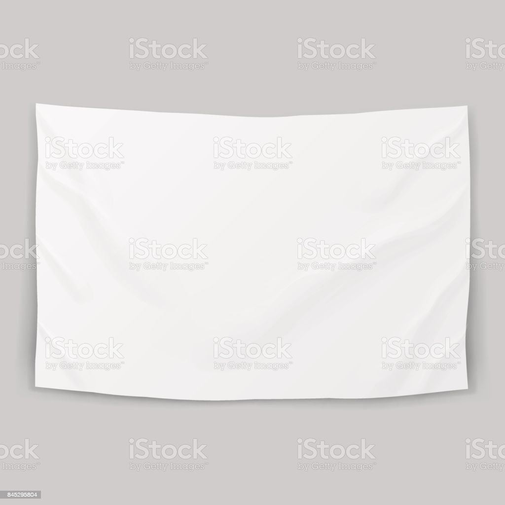 Hanging Clear White Flag Template vector art illustration