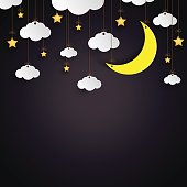 Hanging clouds,stars and moon paper art style.