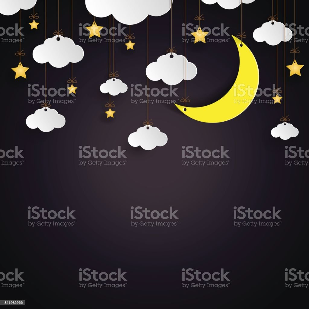 Hanging clouds,stars and moon paper art style. vector art illustration