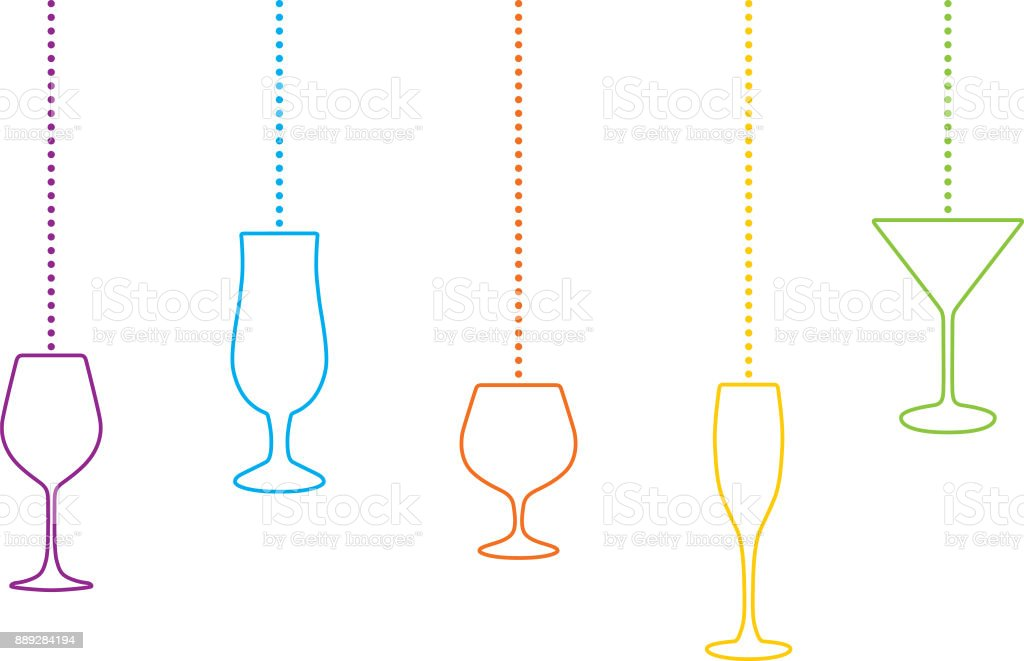 Hanging Cocktail Classes Christmas Ornaments vector art illustration