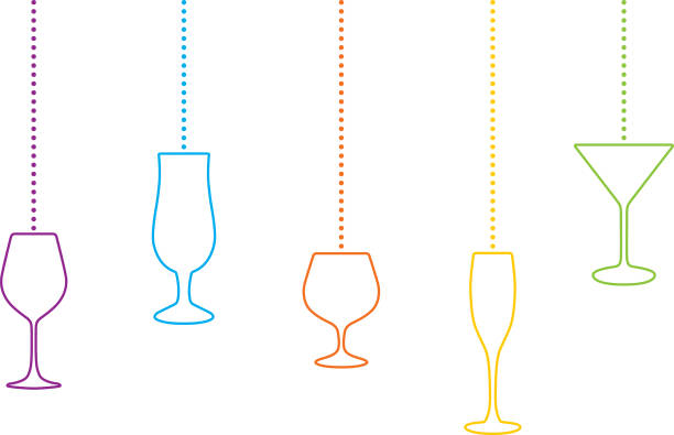 hängende cocktail klassen christmas ornaments - champagnerglas stock-grafiken, -clipart, -cartoons und -symbole