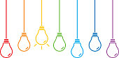 Vector illustration of hanging colorful light bulbs.