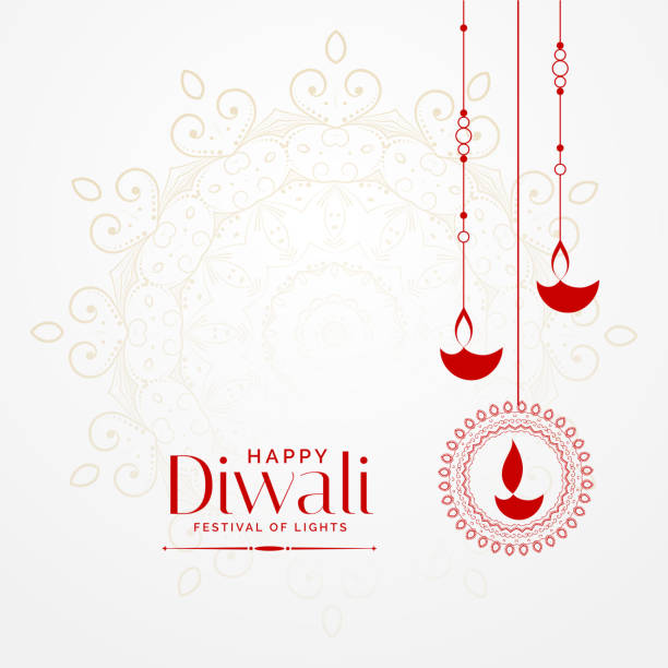 hanging diwali diya lovely festival background - diwali stock illustrations