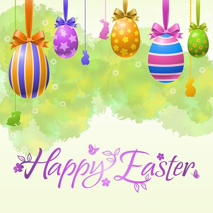 Hanging Easter Egg Decorations Background