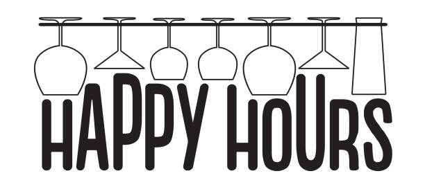 hanging empty glasses above happy hours text. vector bar, pub and restaurant style. - happy hour stock illustrations, clip art, cartoons, & icons