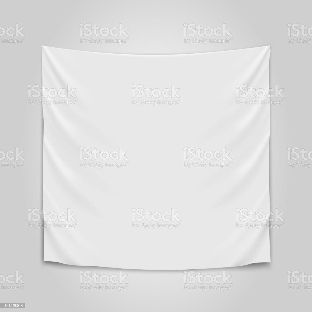 Hanging empty white cloth. Blank flag concept. - Векторная графика Без людей роялти-фри