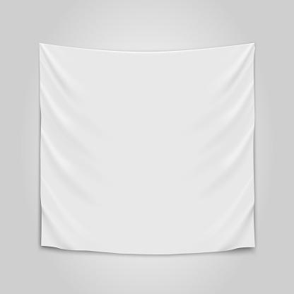 Hanging Empty White Cloth Blank Flag Concept — стоковая векторная графика и другие изображения на тему Без людей
