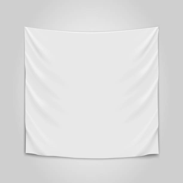Hanging empty white cloth. Blank flag concept. vector art illustration