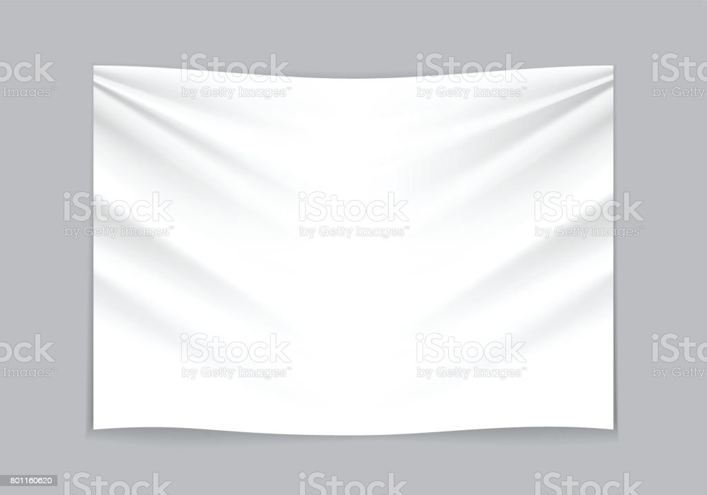 Hanging empty white fabric on gray background vector. vector art illustration
