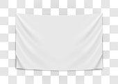 Hanging empty white flag. Blank flag concept. Vector illustration.