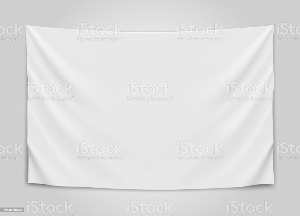 Hanging empty white flag. Blank flag concept. vector art illustration