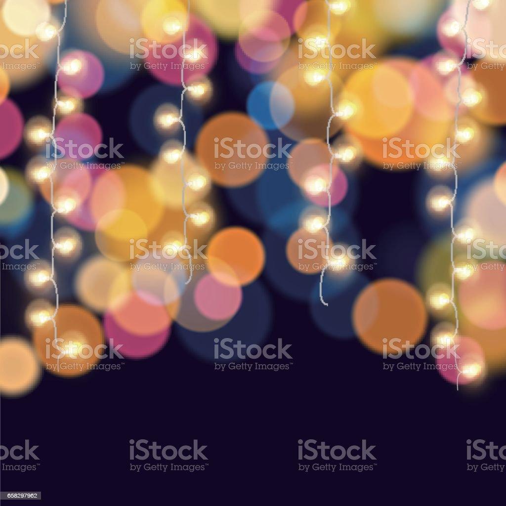 Accroché des guirlandes sur fond coloré bokeh léger - Illustration vectorielle