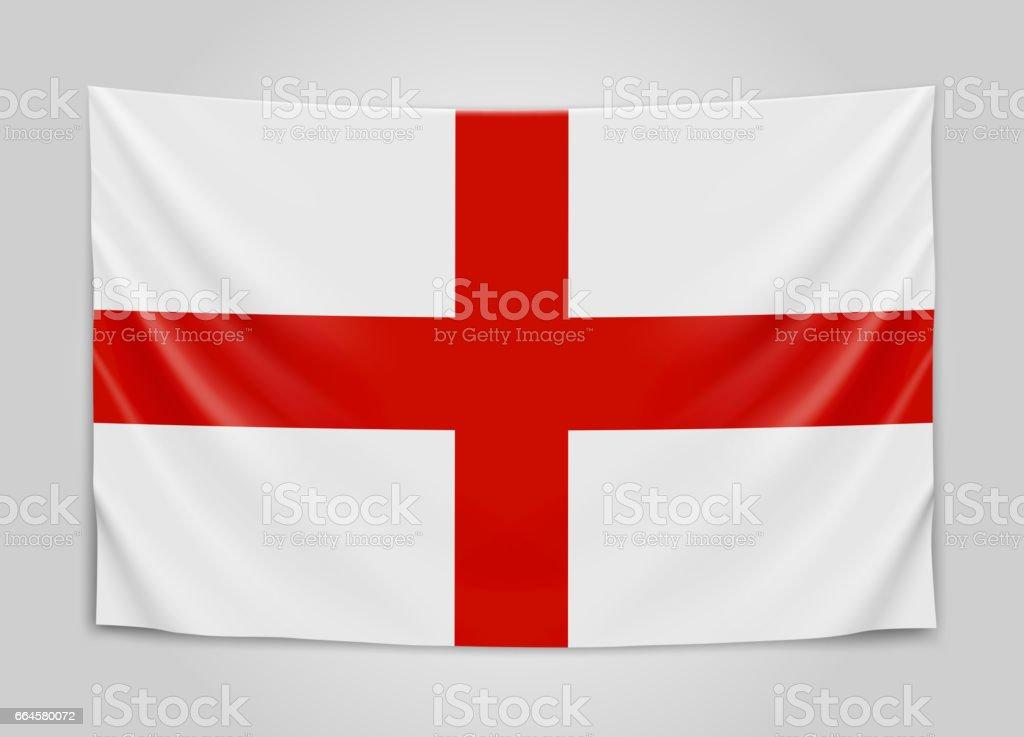 Hanging flag of England. England. National flag concept. royalty-free hanging flag of england england national flag concept stock vector art & more images of british culture
