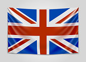 Hanging flag of Great Britain. United Kingdom of Great Britain and Northern Ireland. British national flag concept.
