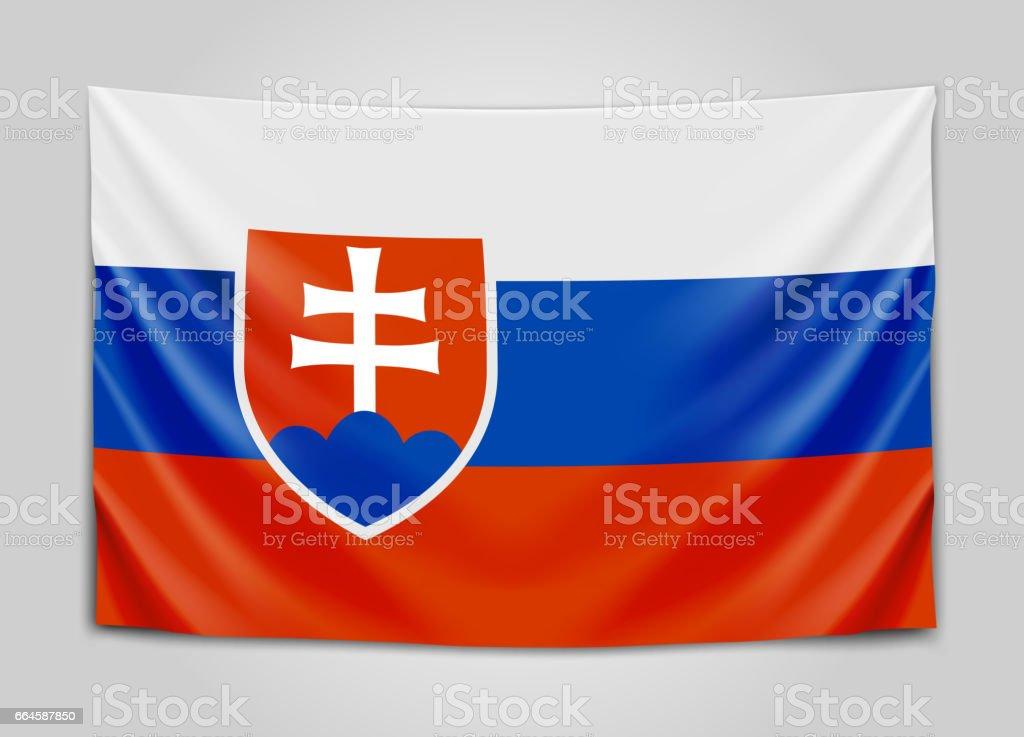 Hanging flag of Slovakia. Slovak Republic. National flag concept. royalty-free hanging flag of slovakia slovak republic national flag concept stock vector art & more images of celebration