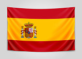 Hanging flag of Spain. Kingdom of Spain. National flag concept.