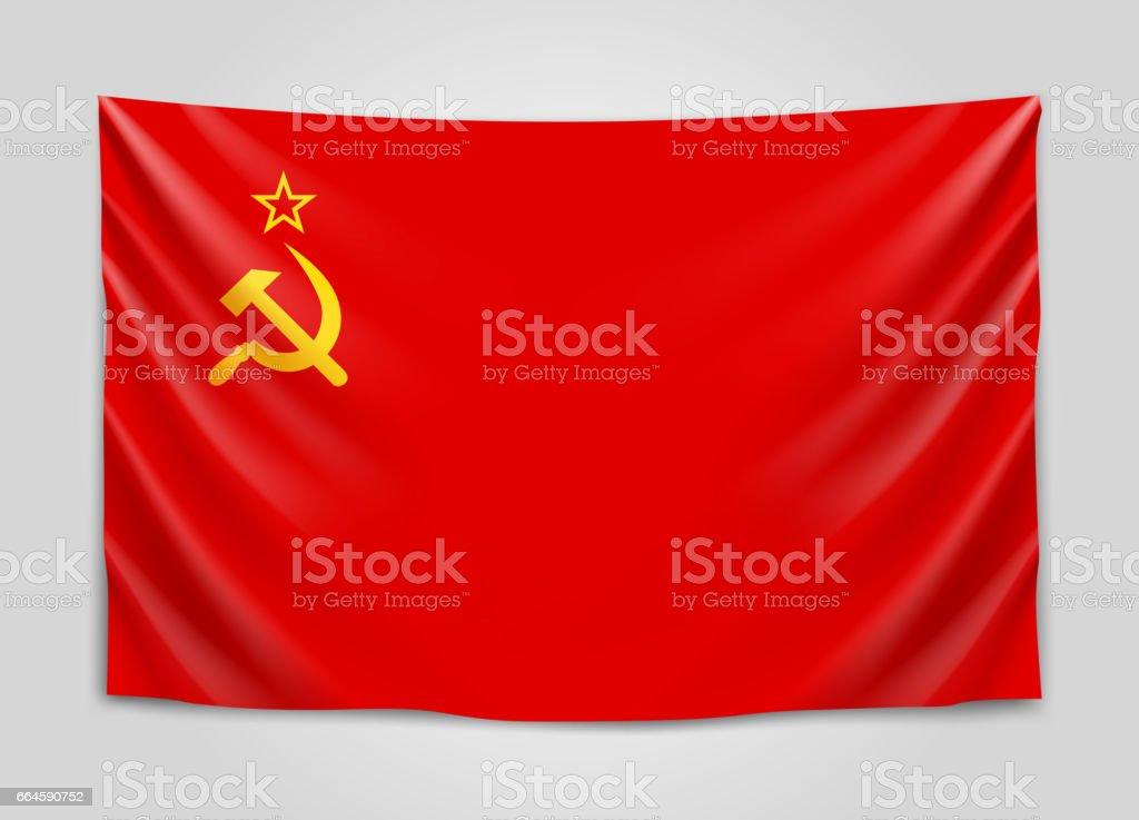 Hanging flag of USSR.Union of Soviet Socialist Republics. National flag concept. vector art illustration