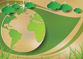 Hanging green earth on old paper with green leaf background.Ecological and environment concept.Vector illustration.