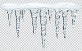 Hanging icicles with snow