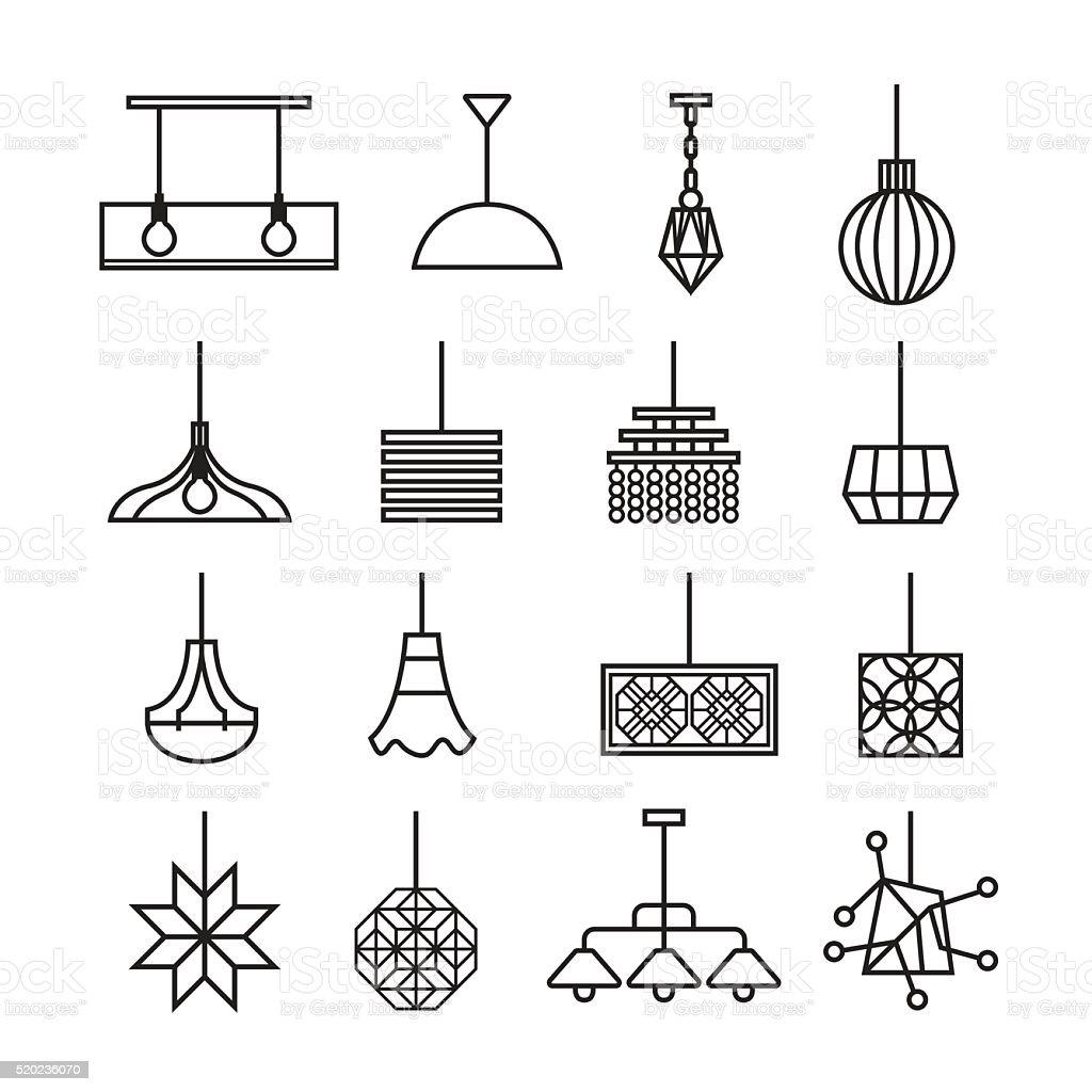 hanging lamp vector, chandelier vector, decorate icon set vector art illustration