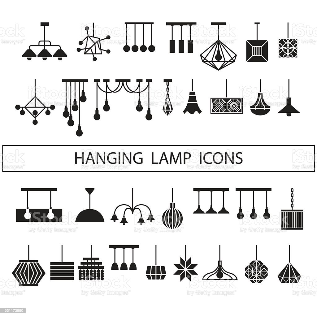 Hanging Lamp Vector Chandelier Vector Decorate Icon Set