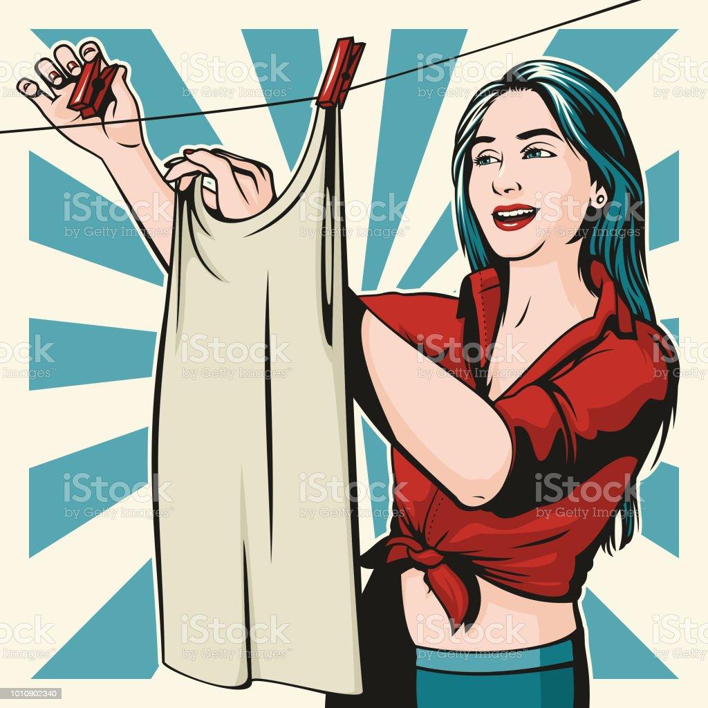 Hanging Laundry vector art illustration