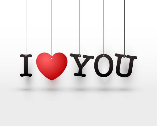 illustrazioni stock, clip art, cartoni animati e icone di tendenza di hanging letters i love you red heart. - love word