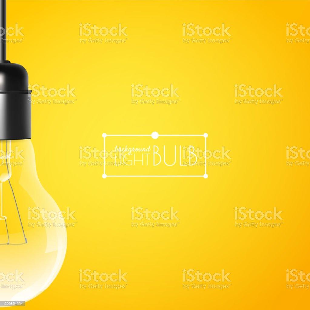 Hängende Glühbirne auf einer gelben Hintergrund mit Kopie Raum – Vektorgrafik