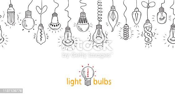 Hanging Light Bulbs horizontal Vector Seamless border. Symbol of Hand drawn light bulb idea