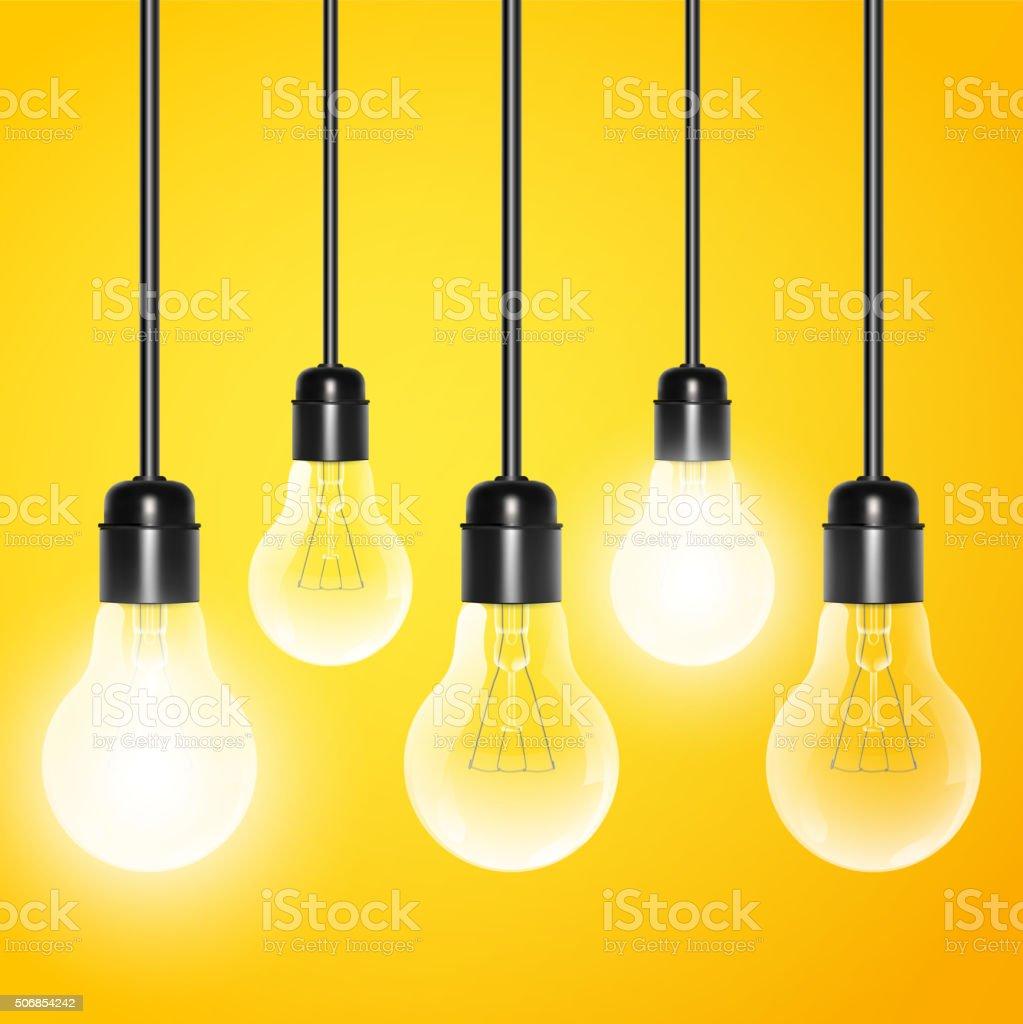 Hängenden Lampen mit ein paar strahlende auf gelbem Hintergrund – Vektorgrafik