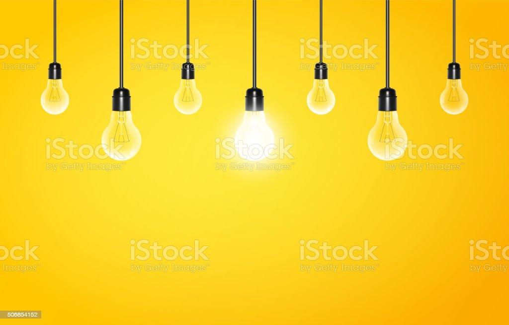 Hängenden Lampen mit Glühend eine auf gelbem Hintergrund – Vektorgrafik