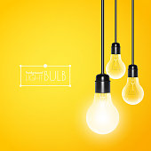 Hanging light bulbs with glowing one on yellow background. Vector