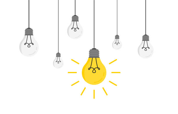 hanging light bulbs with glowing one vector illustration for your design. trendy flat vector light bulbs icons with concept of idea - wisieć stock illustrations