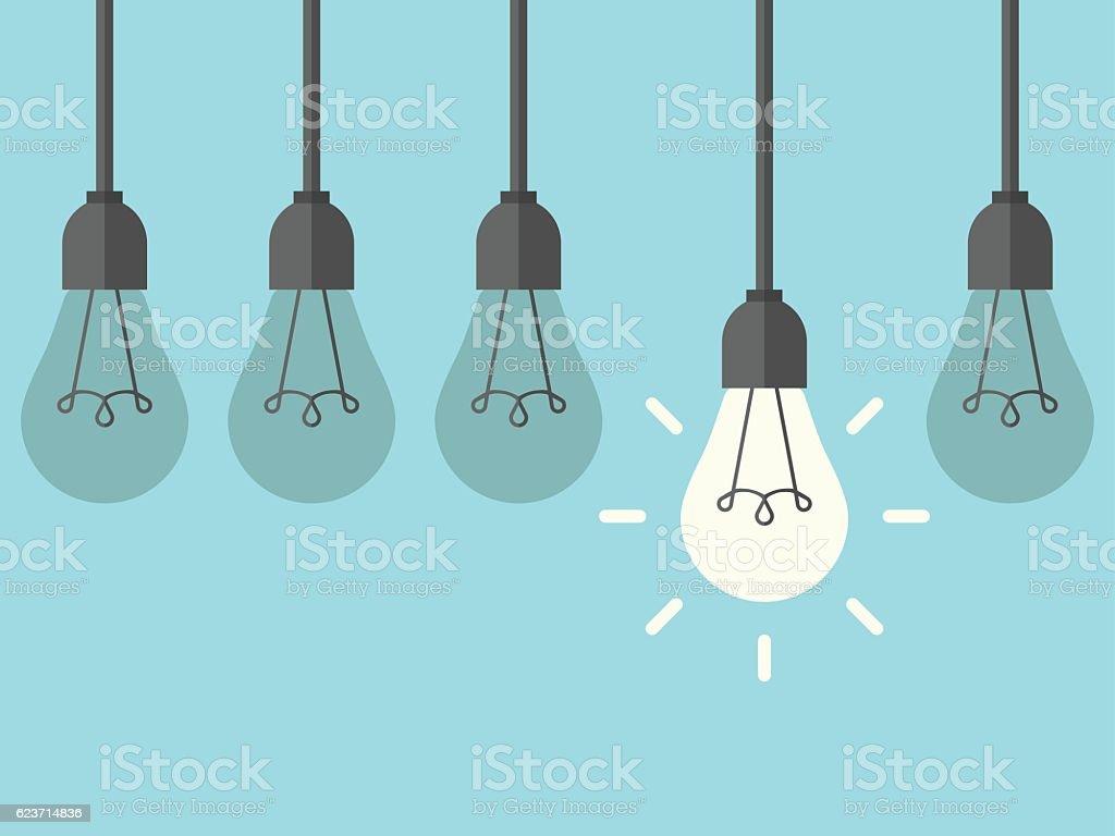 Hanging lightbulb among extinguished vector art illustration