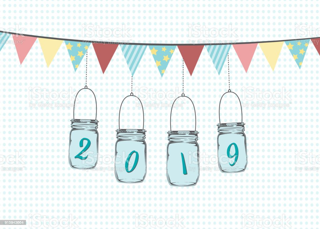 Hanging Mason Jars With Bunting Flags Illustration Vector Graphic